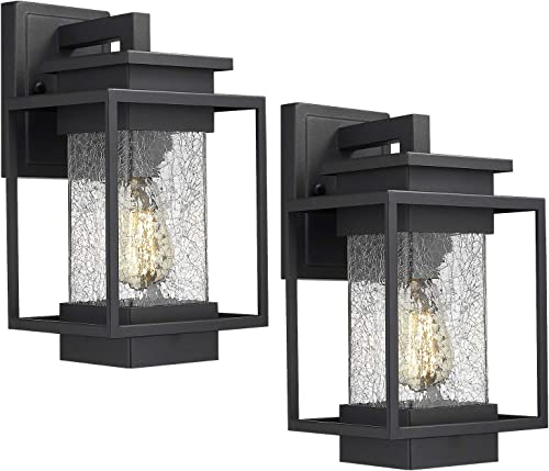 Osimir Outdoor Wall Sconce Light Fixture, 1 Light Exterior Wall Lantern in Black Finish with Crackle Glass Lamp Shade, Modern Outdoor Lighting Fixtures 2365-1W-2PK