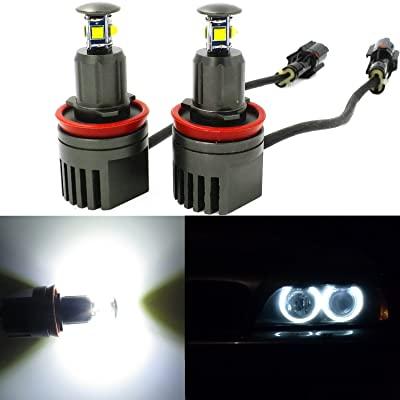 Alla Lighting 40W H8 CREE LED Angel Eye 360-Degree Halo Bulb Light Lamp 6000K Xenon White For BMW E60 E61 E90 E92 E70 E71 E82 E89 1 3 5 Series X5 X6 Z4 (H8-40W): Automotive