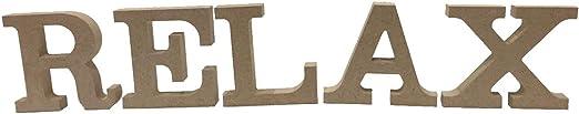 Relax Schriftzug Deko Buchstaben Schrift MDF Holz Alphabet Tischaufsteller
