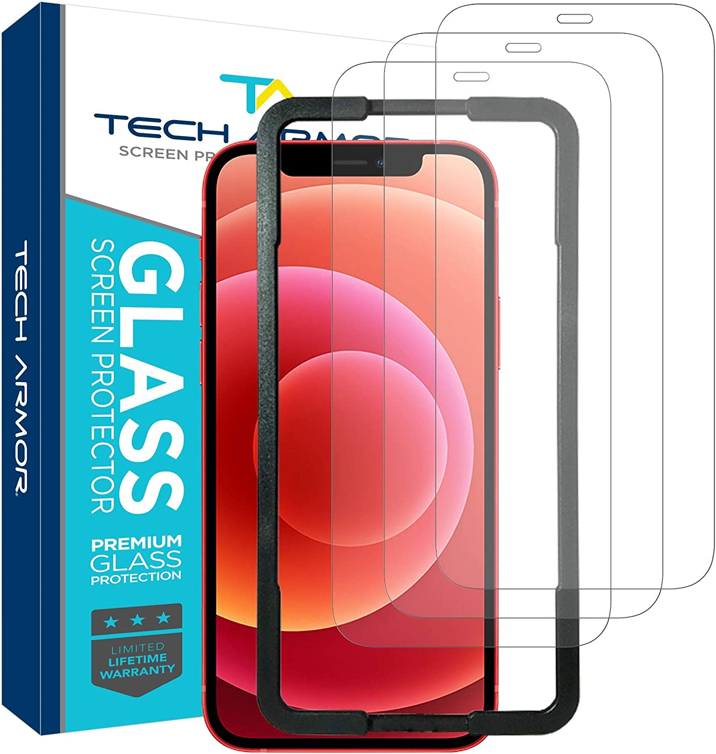 """Tech Armor Ballistic Glass Screen Protector for Apple NEW iPhone 12 mini (5.4"""") - Case-Friendly Tempered Glass [3-Pack], Haptic Touch Accurate Designed for iPhone 12 5.4-inch"""