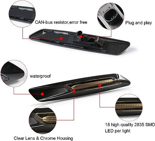 Intermitentes laterales LED Gempro 2 X din/ámica LED Intermitentes laterales /ámbar 18 SMD con no polaridad CAN-bus Libre de errores OE Socket Smoke para E46 E36 E90 E91 E60 E61 E81 E88 E92 E83 E84