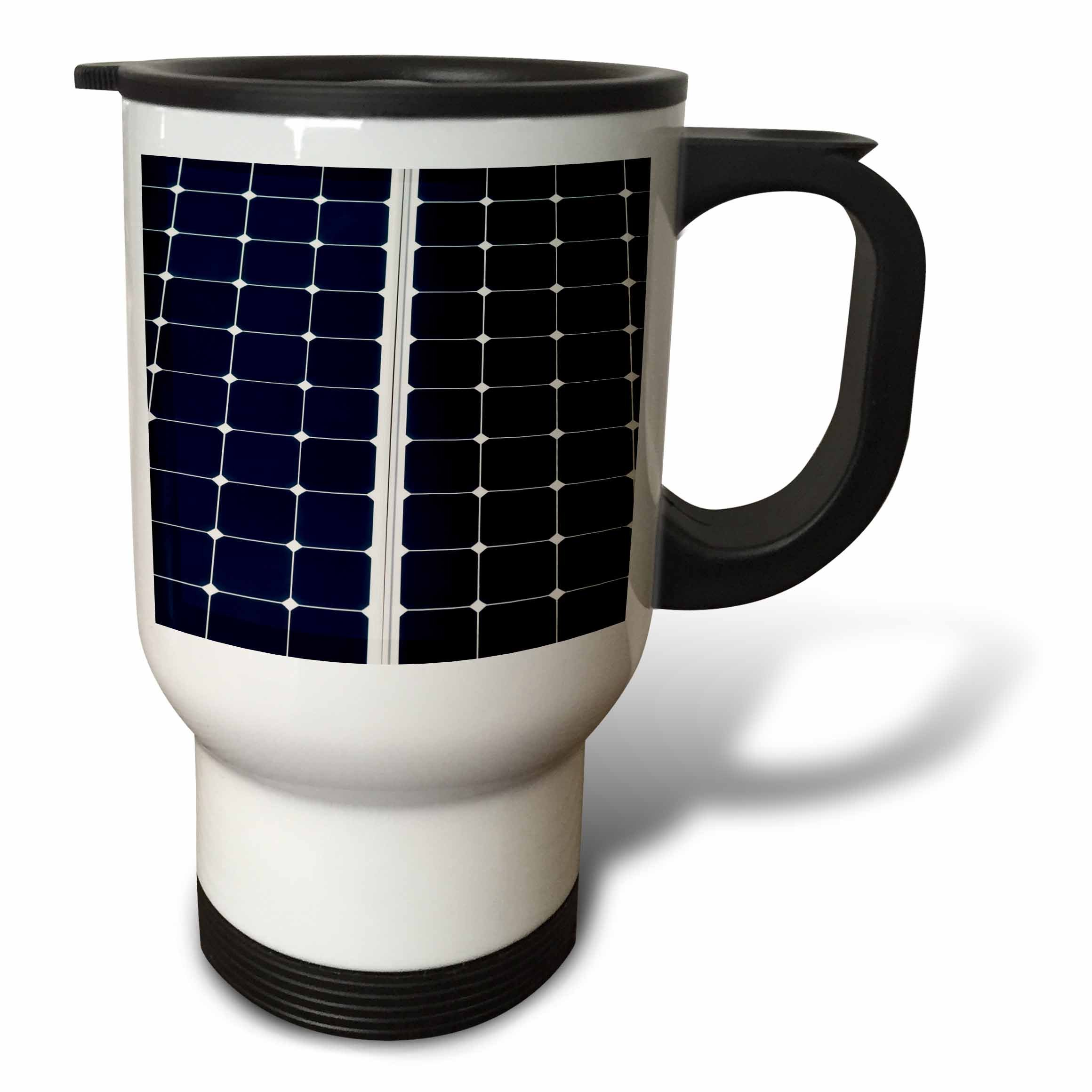 3dRose Alexis Photography - Objects - Dark blue solar power panel divided into two parts by white frame - 14oz Stainless Steel Travel Mug (tm_271344_1)
