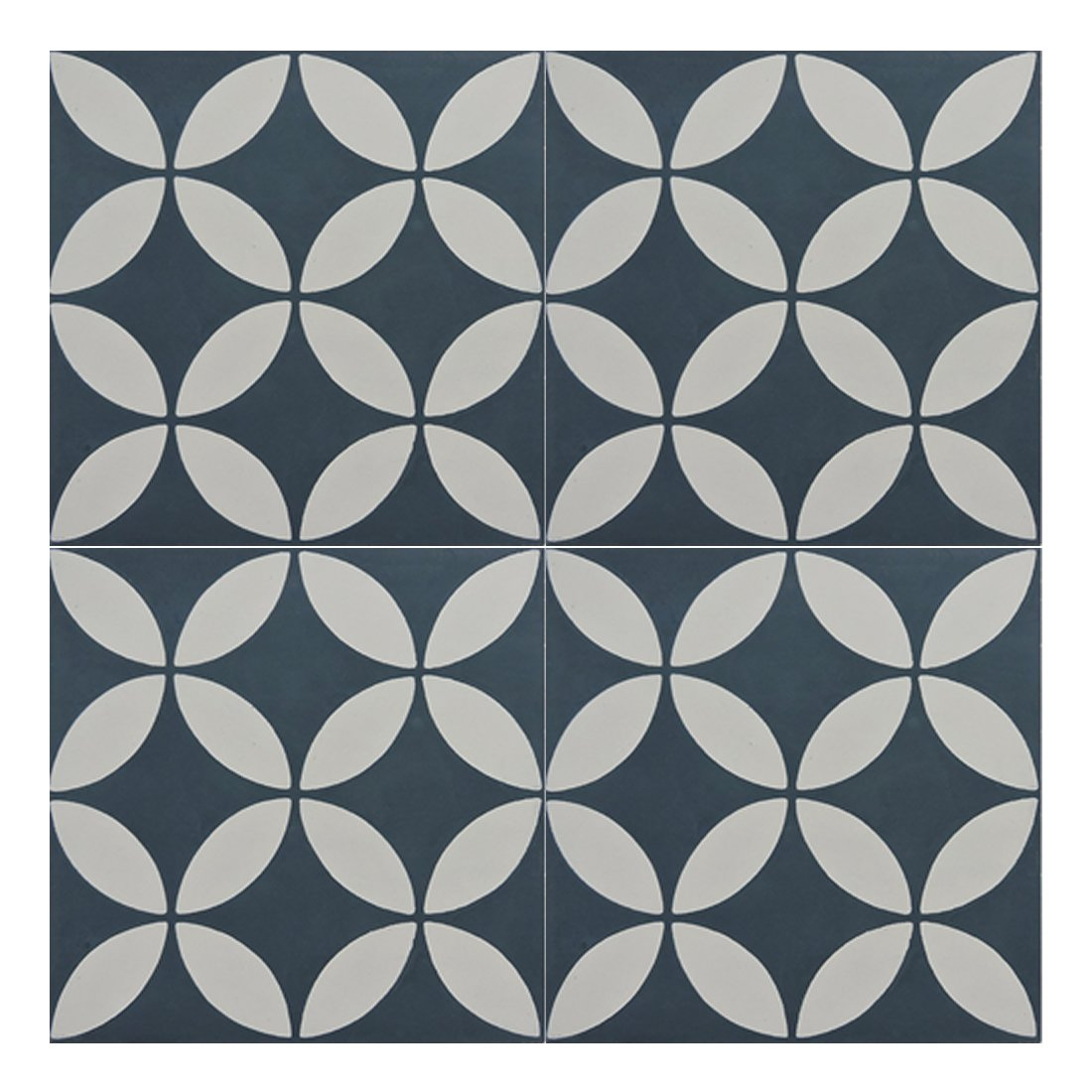 Moroccan Mosaic & Tile House CTP07-11 Amlo 8''x8'' Handmade Cement Tile in Navy Blue and Gray (Pack of 12), Navy BlueWhite by Moroccan Mosaic & Tile House