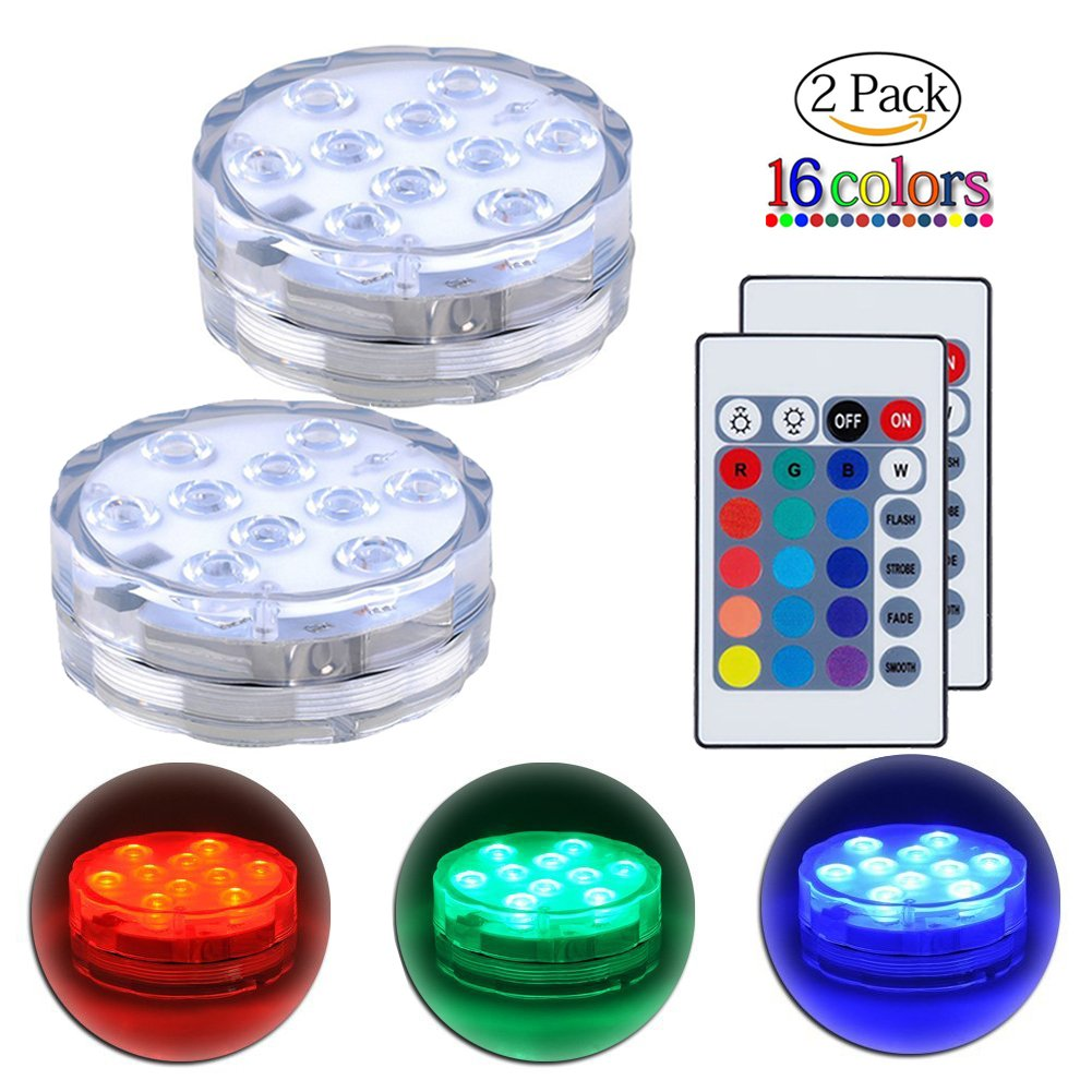 Submersible LED Lights Remote Control Underwater Battery Operated Light,10-LED Waterpoof MultiColor Lights for Wedding, Valentine's Day, Aquarium, Garden, Swimming Pool, Reusable Light 2Pack