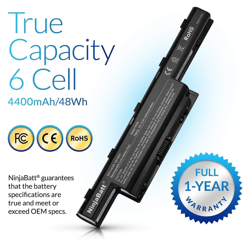 NinjaBatt Batería para Gateway NE56R NE56R31U NE56R41U NV53A NV53A24U NV55C NV55C03U NV59C - Alto Rendimiento [6 Celdas/4400mAh/48wh]