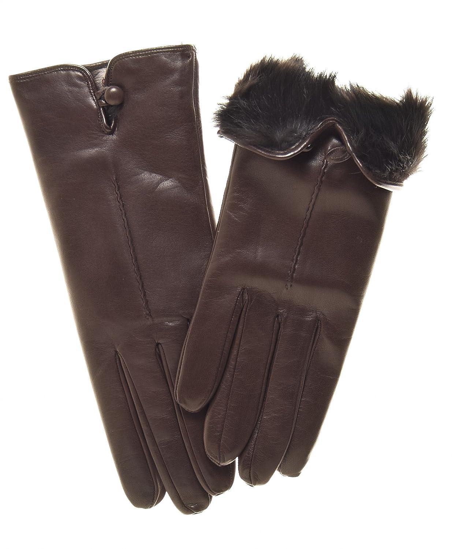 Women's High-Quality Italian Lambskin Leather Rabbit Fur Lined Gloves