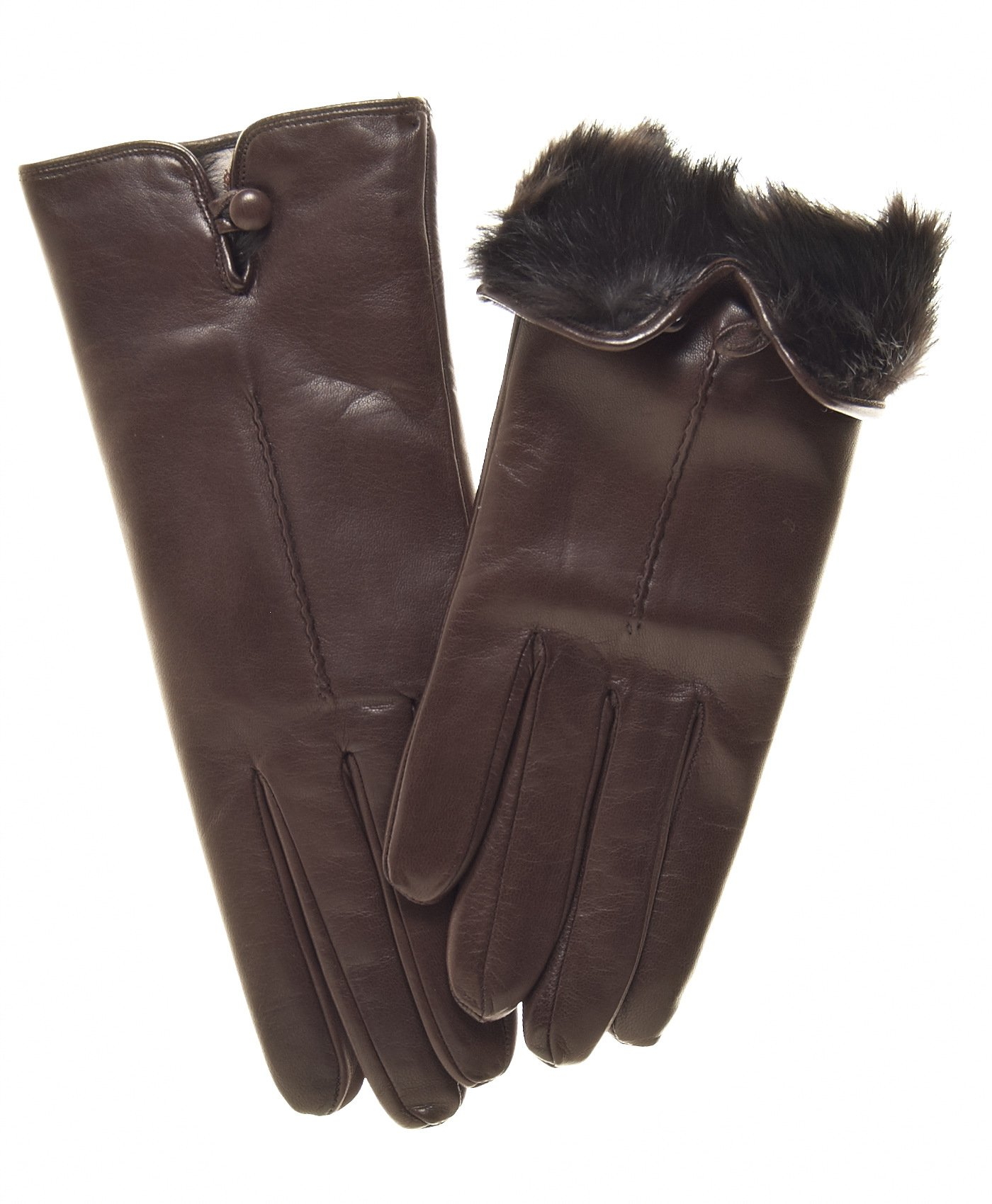 Fratelli Orsini Women's Italian Rabbit Fur Lined Gloves with Button Size 7 Color Brown