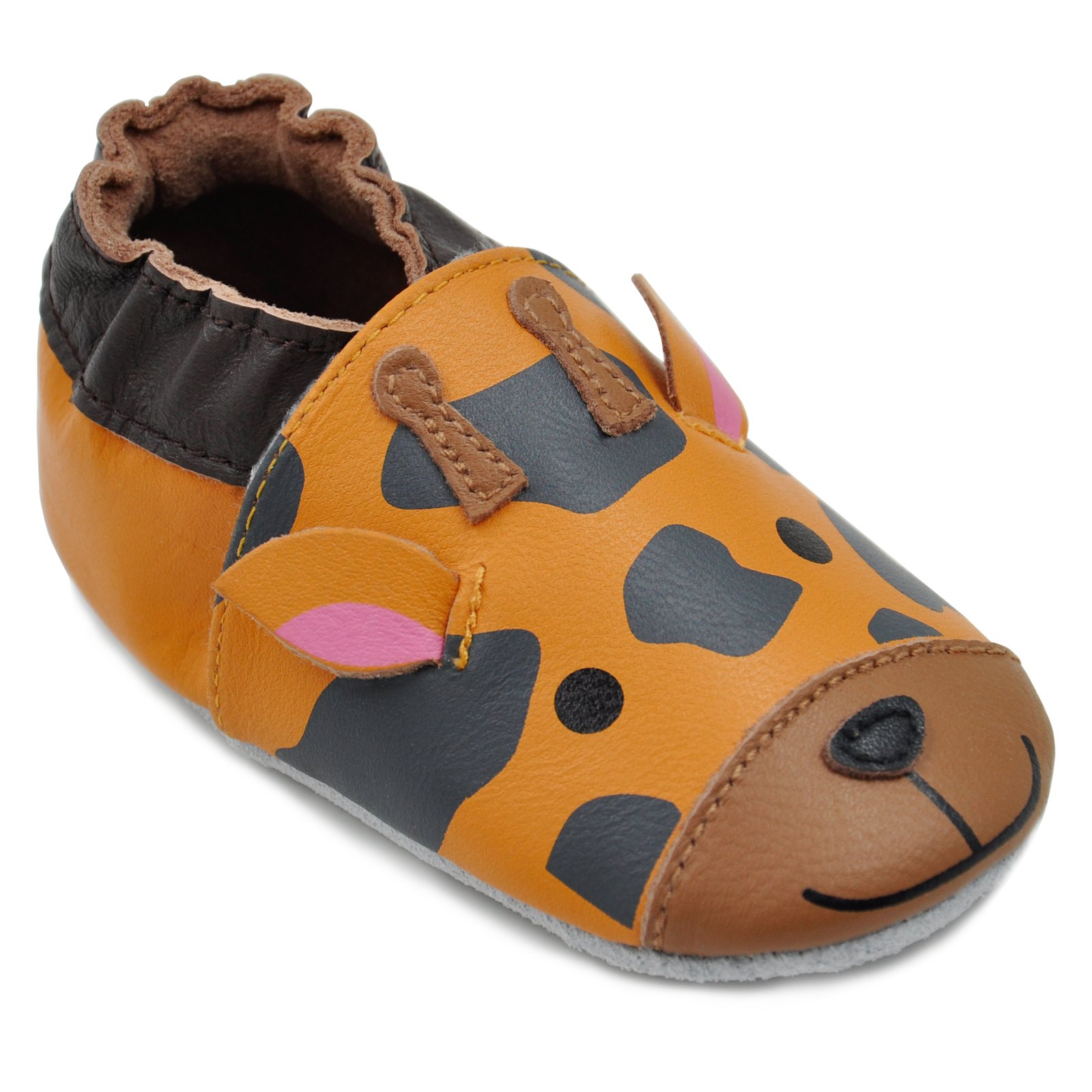 Kimi + Kai Baby Unisex Lambskin Leather Soft Sole Shoes - Giraffe (6-12 Months) Orange by Kimi & Kai