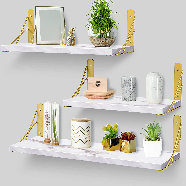 White Floating Shelves for Wall,Wall Shelves with Camber Golden Metal Brackets-White Shelves Set of 3 for Bedroom Bathroom Living Room Kitchen (Marble)