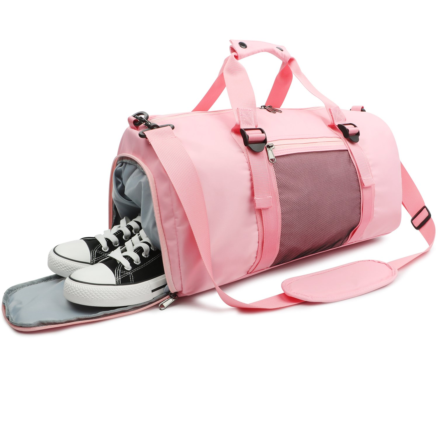 Oflamn Pink Sports Gym Bag with Shoes Compartment & Wet Pocket Lightweight Waterproof Travel Duffle for Men and Women OFGB102PIN