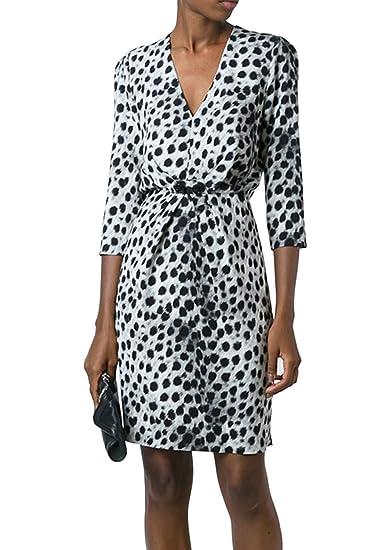 Suvimuga Las Mujeres Vestido De Coctel Profundo Cuello En V Manga 3/4 Leopard Dama Vestidos Midi: Amazon.es: Ropa y accesorios