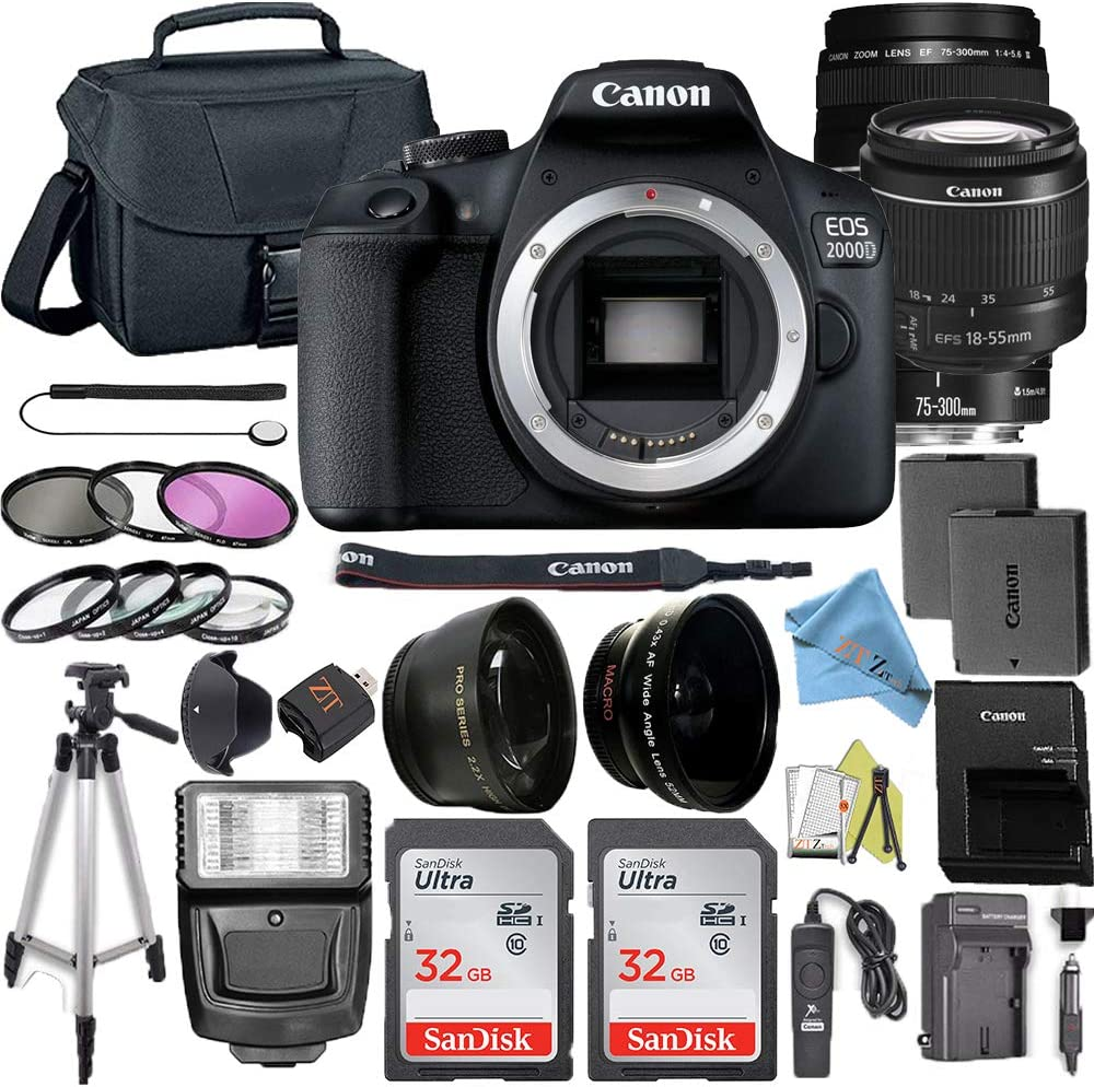 Canon EOS 2000D / Rebel T7 Digital DSLR Camera Body with 24.1MP CMOS Sensor with 75-300mm & 18-55mm Lens + 2 Pcs SanDisk 32GB Memory Card + Camera Bag + Accessories Bundle (32GB Card)