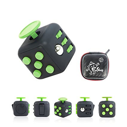 Fun Cube Relieves Stress And Anxiety Fidget Toy For Children Adults Black Green