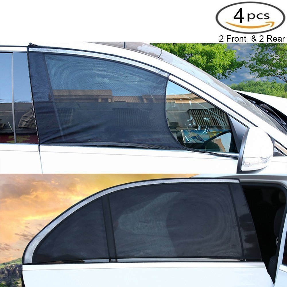 4 Packs Car Window Shade Sun Shade to Protect Baby Kid from UV Light   Rear & Front Side Windows  Premium Interior Car Accessories -Universal Fit Winow Slip On Stretchable Mesh Protect SELLBINDING