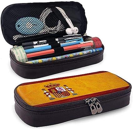 Estuche de lápices de cuero de alta capacidad con bandera de España Estuche de lápices Estuche de papelería Organizador de caja Organizador Marker Pen Bolso de cosméticos portátil: Amazon.es: Oficina y papelería