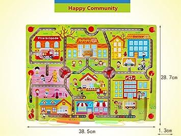 FunnyGoo Pluma de Gran tamaño Que Conduce Laberinto de Madera Laberinto imán para niños de 3 años en adelante Hijos (Happy Community District) : Amazon.es: Juguetes y juegos