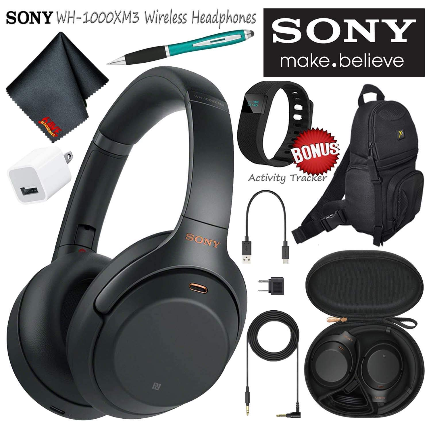 Sony WH-1000XM3B Wireless Bluetooth Noise-Canceling Over-Ear Headphones (Black) Essential Commuter Bundle Kit with Sling Backpack + Stylus + More
