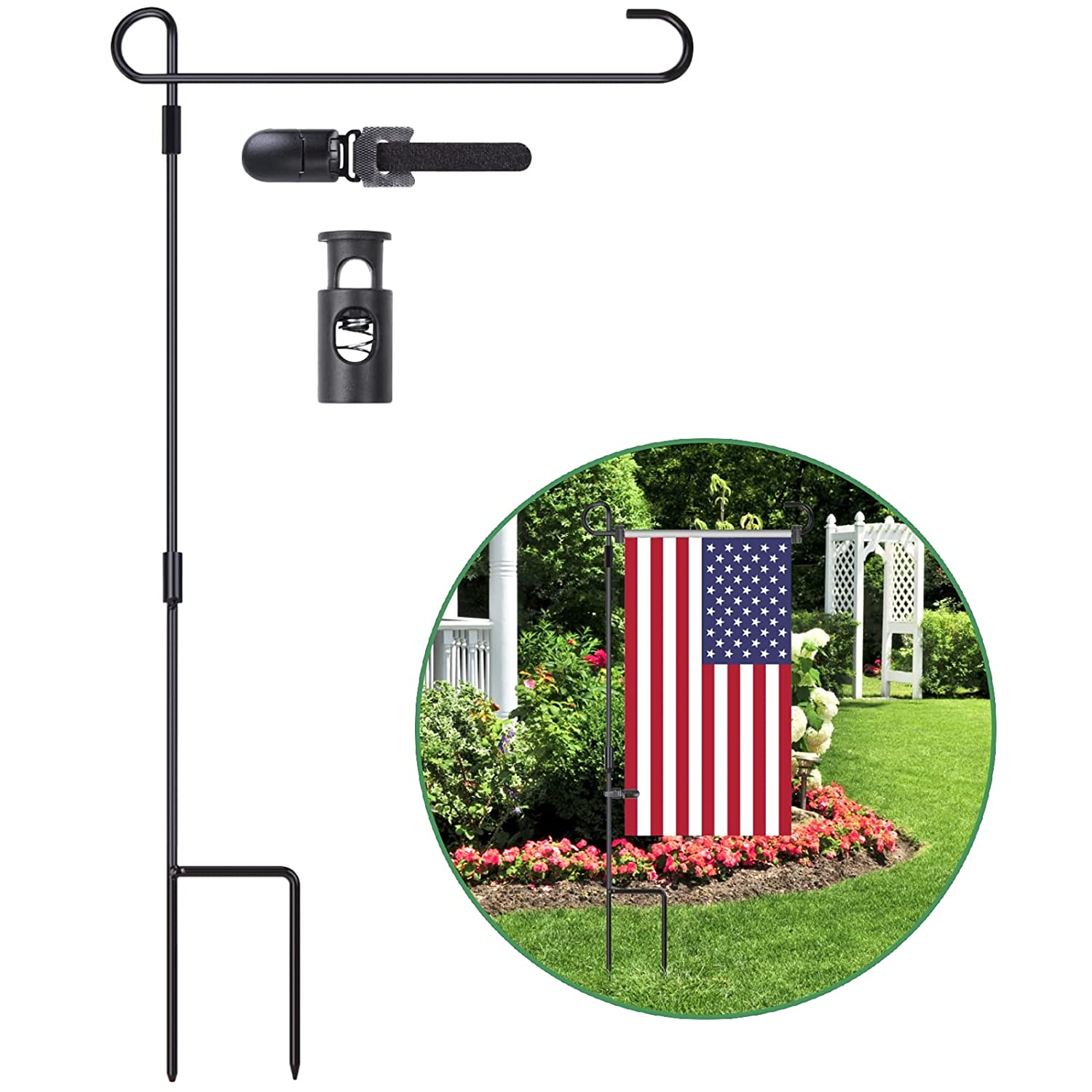 Garden Flag Stand, Premium Garden Flag Pole Outdoor Flag Stand, Garden Flag Holder for Various Flags About 13'' W , with one Tiger Clip and two Spring Stoppers Without Flag By GUFUR