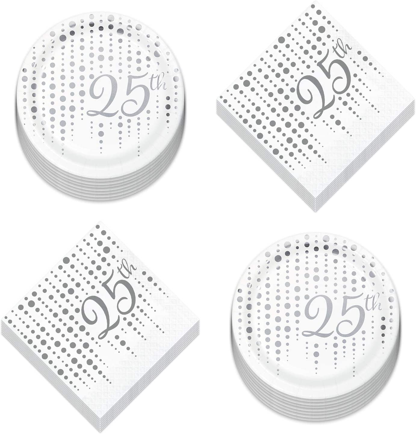 25th Party Supplies for Milestone Birthdays and Anniversaries - Silver Metallic Sparkle and Shine Paper Dessert Plates and Beverage Napkins (Serves 16)