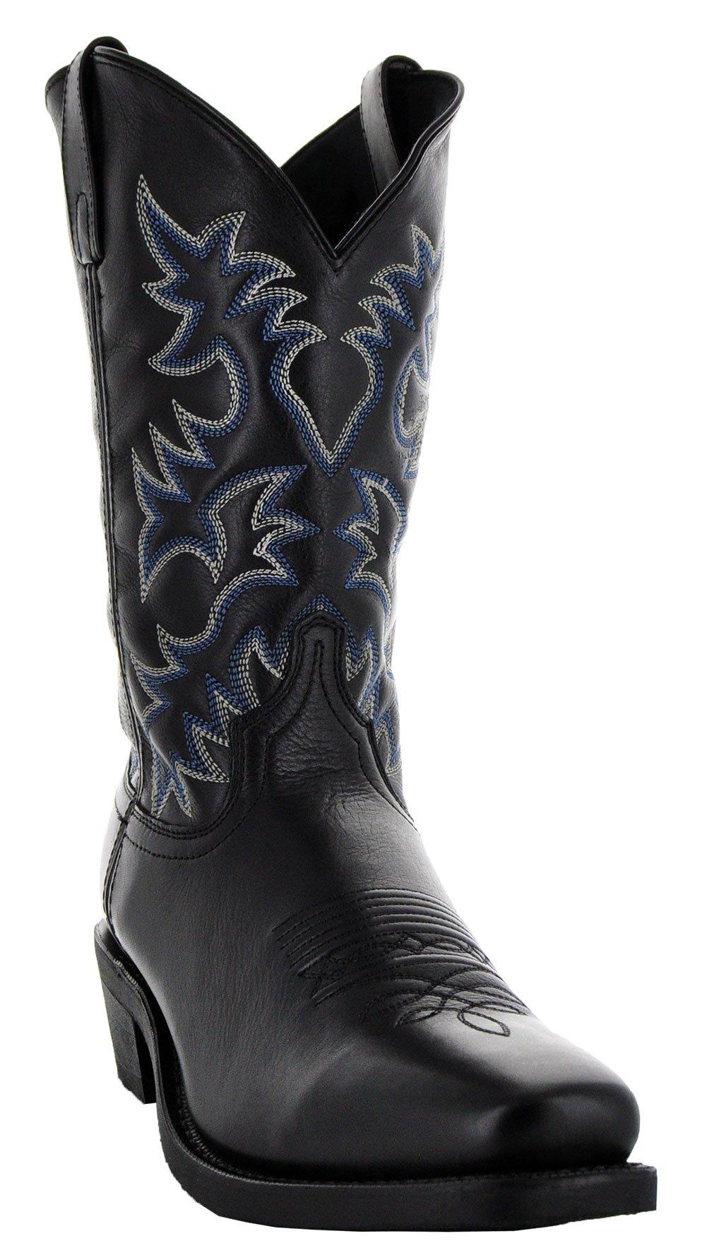 Soto Boots Castillo Men's Square Toe Western Boots (10, Black)