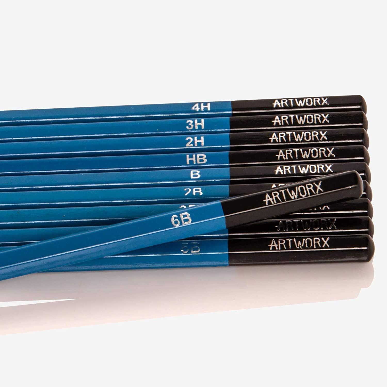 Premium Colouring /& Sketching Pencils Artworx 50 Piece Artists Pencil Set in Deluxe Box Assorted Colours /& Grades