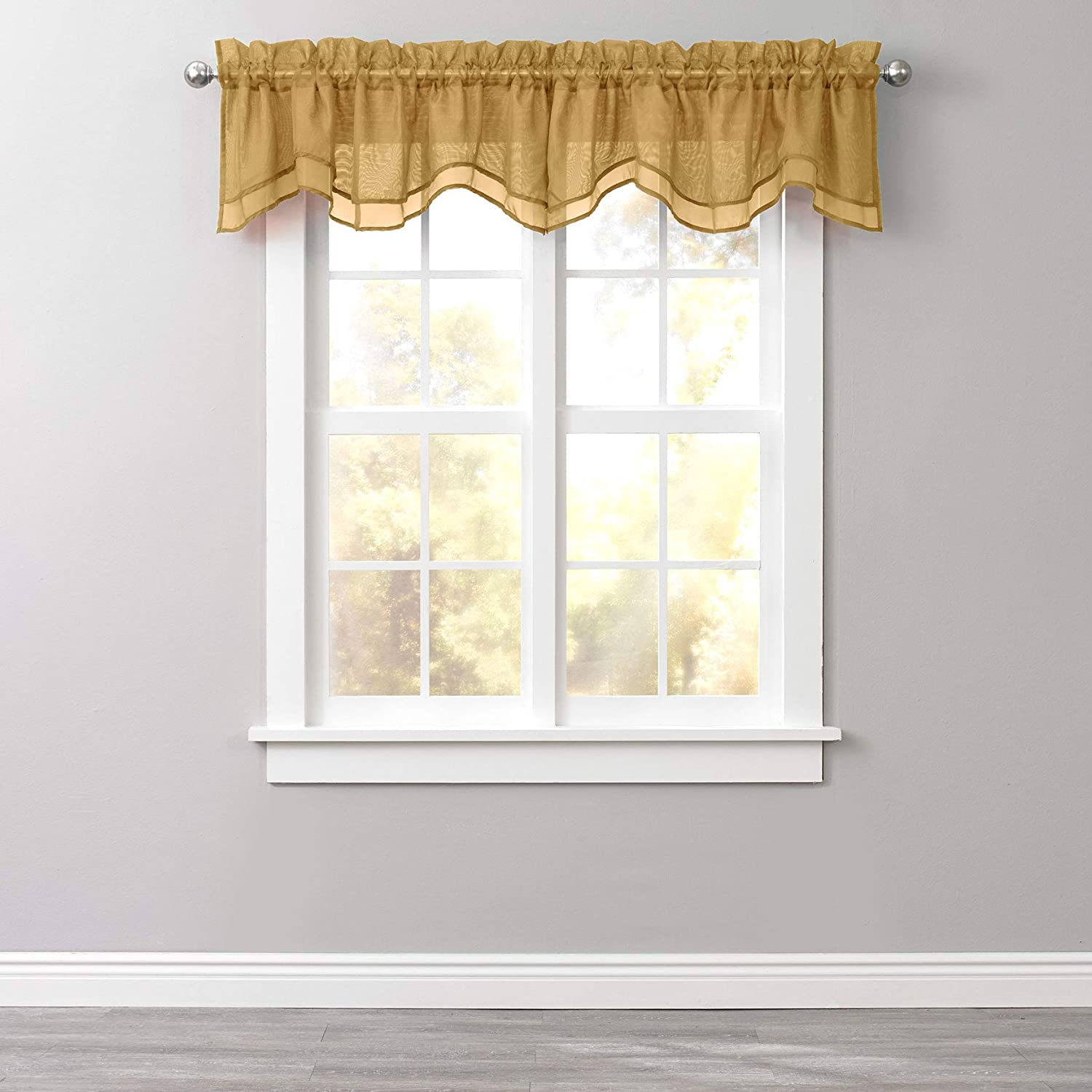 Amazon Com Brylanehome Sheer Voile Layered Valance Gold Home Kitchen