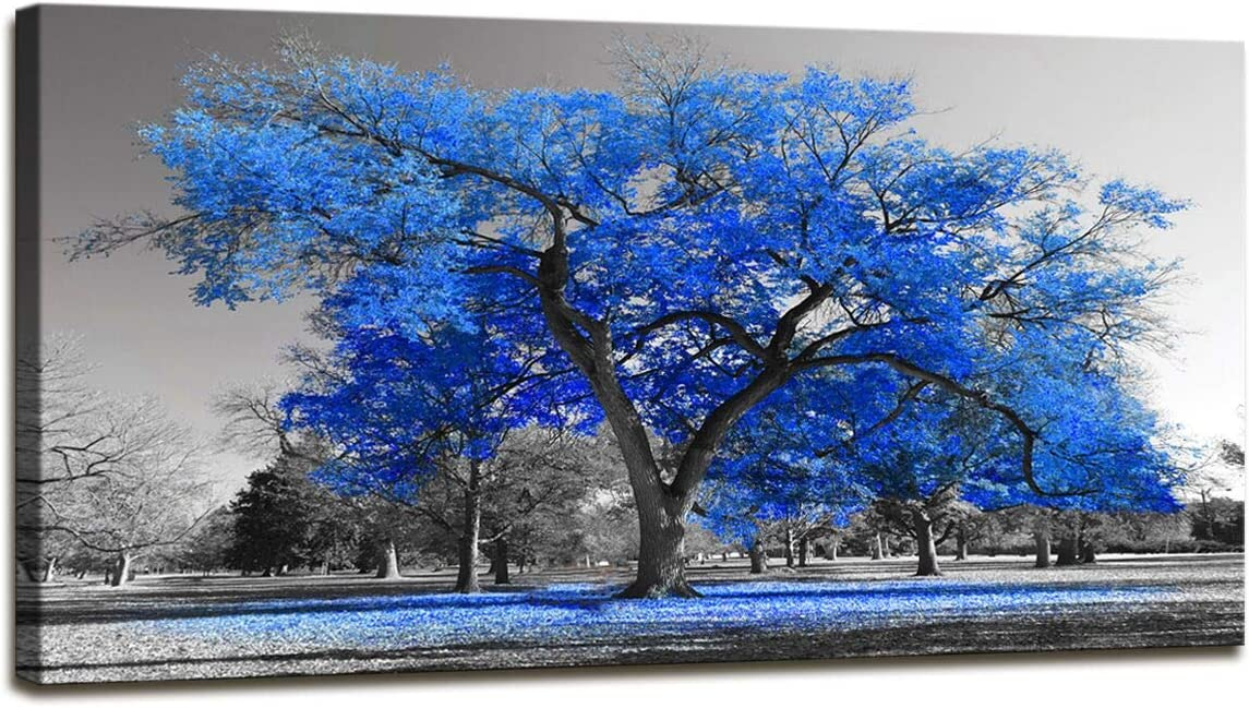 Wall Art Painting Contemporary Blue Tree in Black and White Style Fall Landscape Picture Modern Giclee Stretched and Framed Artwork