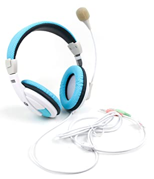 DURAGADGET Auriculares de Diadema en Azul y Blanco con Rueda ...
