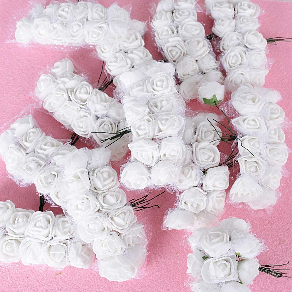BUONDAC 144 pz 2.5cm Teste di Rose Fiori Artificiali Schiuma Finte Piccole per Decorazioni Matrimonio Festa Bianco con Tulle