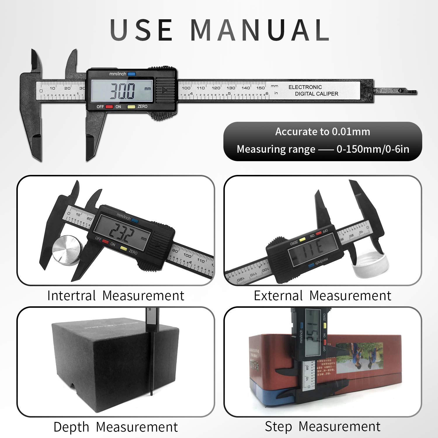 Kormest Electronic Digital Caliper, Plastic Vernier Caliper, Caliper Measuring Tool with Inch/Millimeter Conversion, Extra Large LCD Screen, 0-6 Inch/0-150 mm,recise Measuring Inches & Millimeters