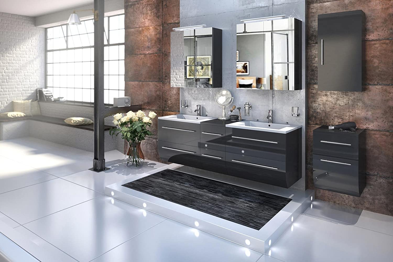 Doppelwaschbecken Mit Unterschrank bad11 badmöbelset zesiro in hochglanz schwarz 5 teiliges