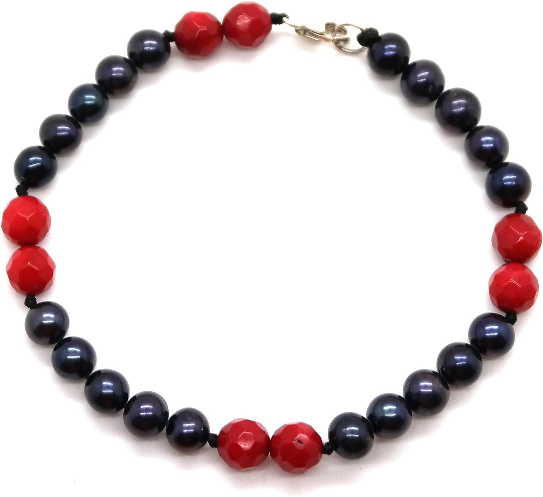 Impresionante pavo real negro 6mm agua dulce perla y Coral rojo Pulsera de plata de ley