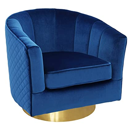 Amazon.com: Swivel Accent Chairs, Uphostered Club Chair For Bedroom Living  Room Velvet Royal Blue: Kitchen U0026 Dining