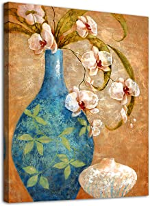 "Blossom Canvas Wall Art Decor Vintage Flower Vase for Bathroom Bedroom Living Room Blossom Modern Canvas Artwork Contemporary Picture Prints for Office Wall Decoration 12"" x 16"" Framed Ready to Hang"