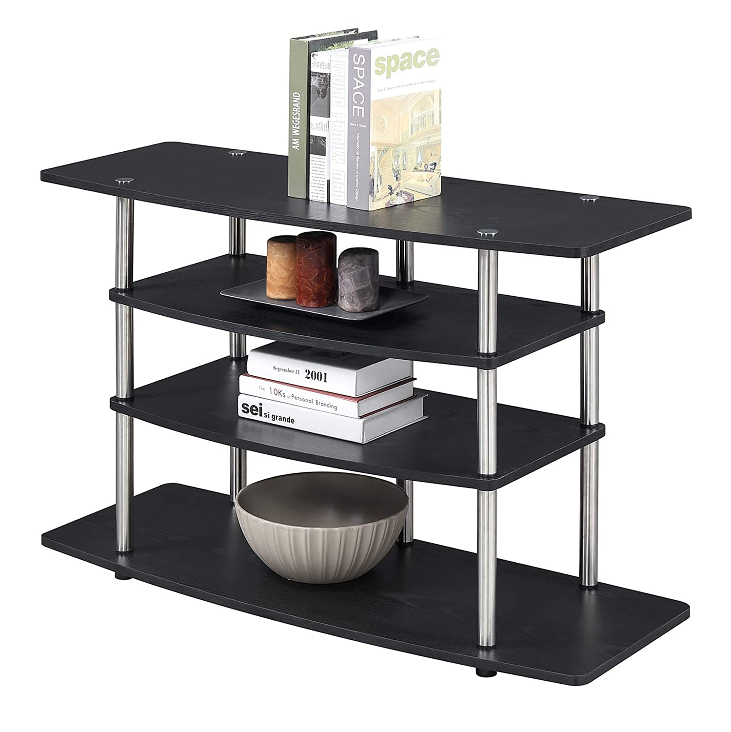 Convenience Concepts 141031BL Designs2Go No Tools Wide Highboy TV Stand, Black,