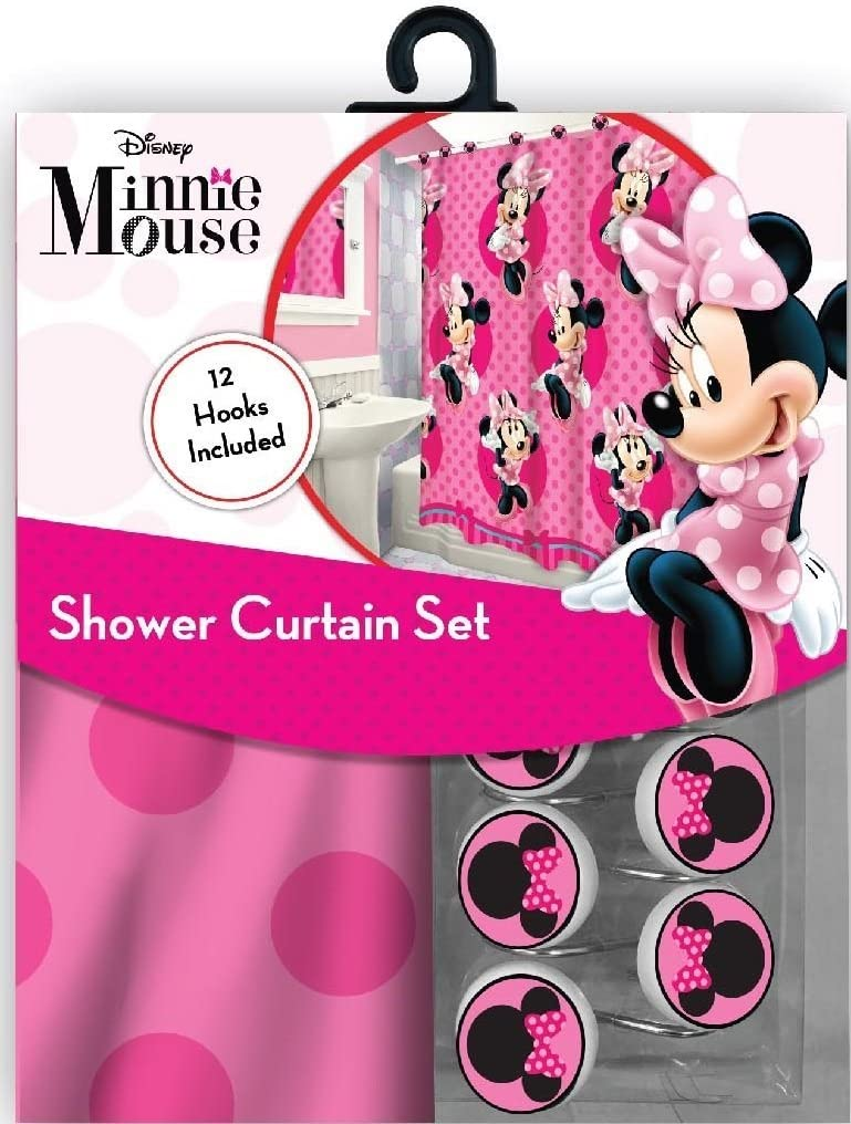 All New Fabric Shower Curtain Set Disney with 12 Matching Hooks (Minnie)