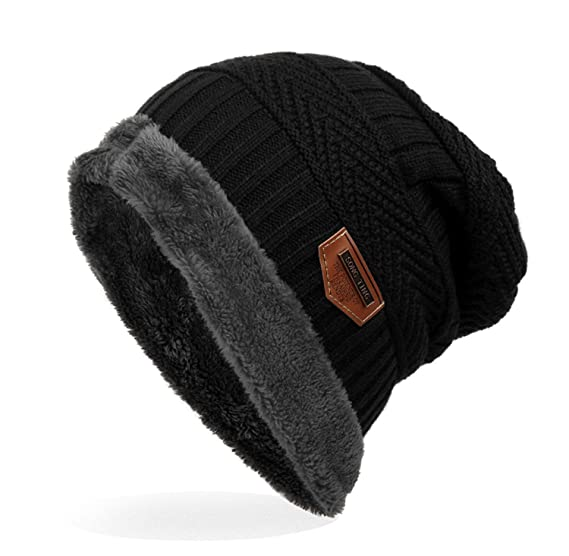 Ensnovo Mens Winter Beanies Hat Soft Lined Thick Wool Knit Skull Cap ... f548c243706