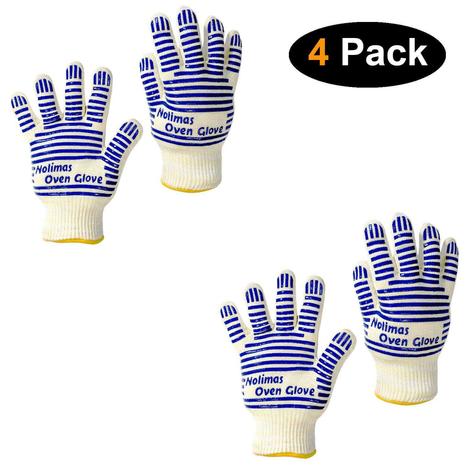 Nolimas Extreme Heat Resistant Grilling Oven Gloves,Food Grade Kitchen BBQ Glove - EN407 Certified Protective Silicone Non-Slip Oven Mitts for Barbecue,Cooking,Cutting Baking Welding,Blue,4 Pack by Nolimas