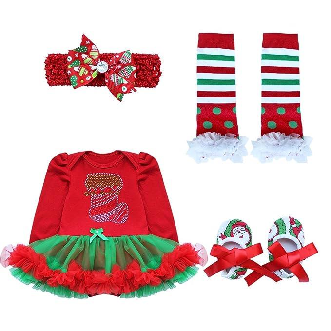 iEFiEL Vestidos de Navidad Fiesta para Bebé Niña Invierno Conjunto Infantil Body Pelele Algodón Media de