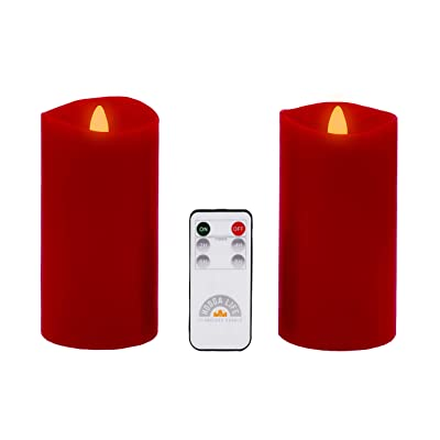 """Gift Package 2 Pieces Red Flameless Candles (D 3"""" x H 6"""") Flickering Flame Effect, LED Pillar Candles Battery Operated Real Wax with Timer Function and Remote: Home Improvement"""