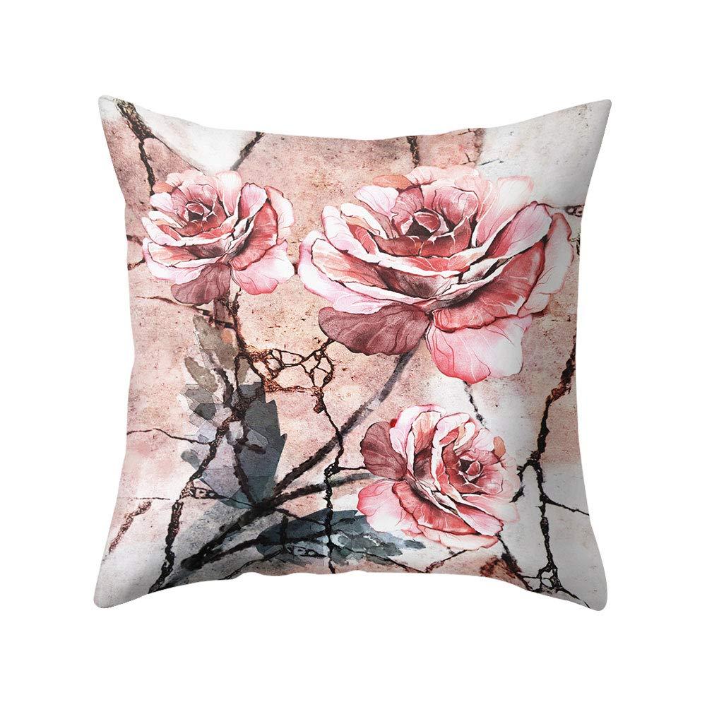 XdiseD9Xsmao Weiche Durable Square Rose Blumenmuster Kissenbezug Kissenbezug Home Bett Sofa Auto B/üro Ornament Decor 1#
