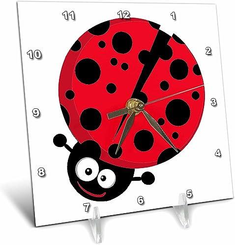 3dRose dc_118600_1 Cute Little Goofy Ladybug with Lots of Spots-Desk Clock, 6 by 6-Inch