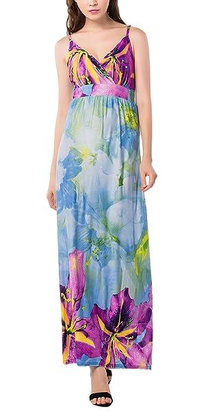 Vestido Playa Mujer Tallas Grandes Largo Boho Vestidos Anchos Alto Cintura V Cuello Flor Impresa Faldas