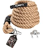 AJAFIT Gym Climbing Rope for Indoor or Outdoor Workouts,Crossfit Fitness Exercise,1.5 Inch in Diameter 15/20/25 ft…