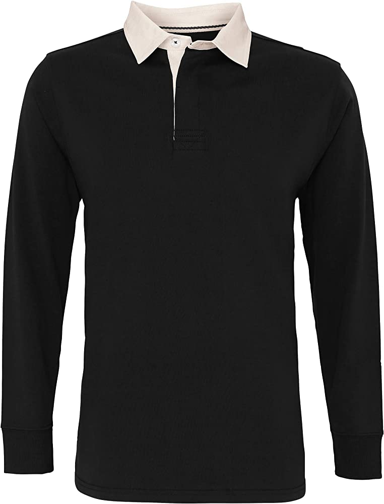 Asquith & Fox Mens Classic Fit Long Sleeve Vintage Rugby Shirt Camisa Manga Larga, Multicolor (Black/Natural 000), Small para Hombre: Amazon.es: Ropa y accesorios