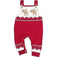 JEELINBORE Jumpsuit Mono de Bebé Unisex Jersey de Punto de Navidad Reno recién Nacido Sin Mangas Suéter