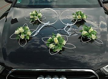 Ratan Ringe Auto Schmuck Braut Paar Rose Deko Dekoration Autoschmuck