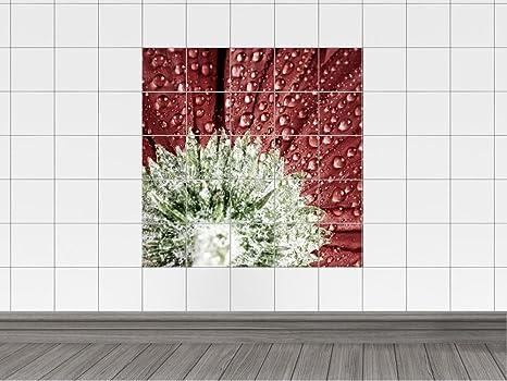 Piastrelle adesivo piastrelle immagine fiore con gocce d acqua