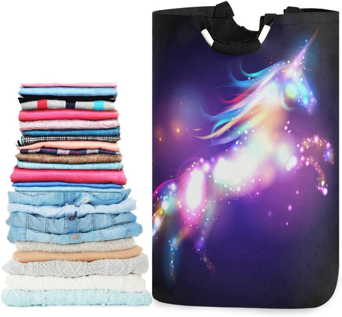 visesunny Collapsible Laundry Basket Unicorn Galaxy Black Large Laundry Hamper with Handle Toys and Clothing Organization for Bathroom, Bedroom, Home, Dorm, Travel