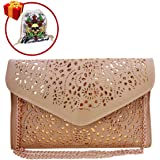 Ships from US-Mily Hollow Out Flower Envelop Clutch Chain Tote Shoulder Bag Handbag